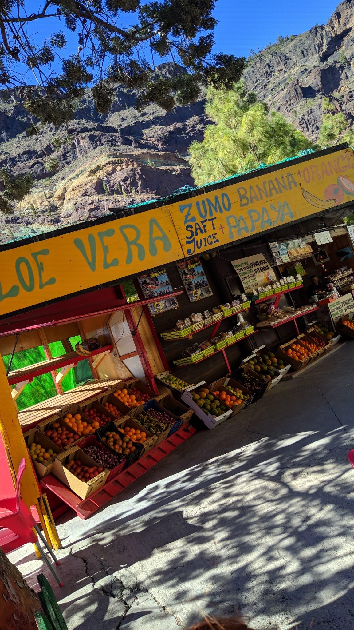 Orange + banana + papaya + cactus juice in the middle of nowhere :)